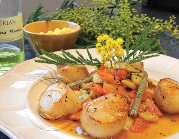 2014 Recipe Promotional Calendars - April 2014 - Mimosa Scallops (Serves 4)  2 tbsp [30 mL] olive oil  1 lb [500 g] scallops  1 bunch green onions  1 green pepper, diced  1 cup [250 mL] cooked sliced carrot  1 cup [250 mL] cooked sliced potato  ½ cup [125 mL] cooked sliced artichoke heart  2/3 cup [160 mL] vegetable broth  Mimosa sauce (1/3 cup [80 mL] orange juice with 2 tbsp (30 mL) white wine vinegar)  1 tb ... visit www.promocalendarsdirect.com/recipes for complete recipe.
