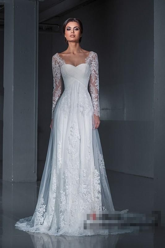 Popular Wedding Dress 2016 Long Sleeves Princess Sweetheart Lace Bridal Gowns Plus Size Lace Up Country Western Wedding Dresses Prices Of Wedding Dresses Simple A Line Wedding Dress From Perfectonline, $147.96| Dhgate.Com