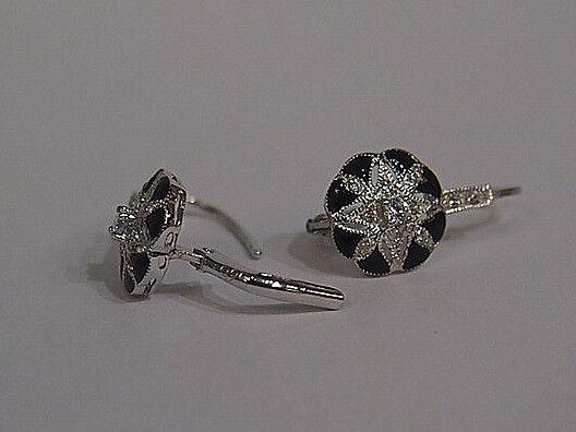 Jewellery-Earrings-Designer-Kaiserman- Black Enamel Cubic Zirconia Silver Euro Hook Earrings