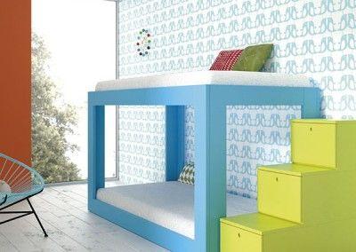 Litera infantil azul con cajones formando escalera - Literas con escaleras de cajones ...