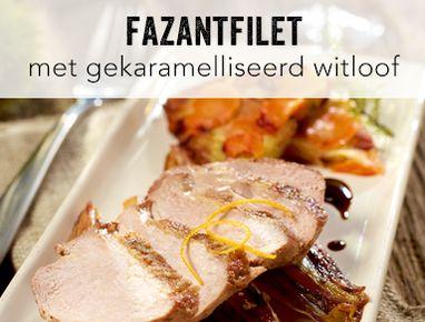 Fazantfilet met gekaramelliseerd witloof en koekje van aardappel en wortel