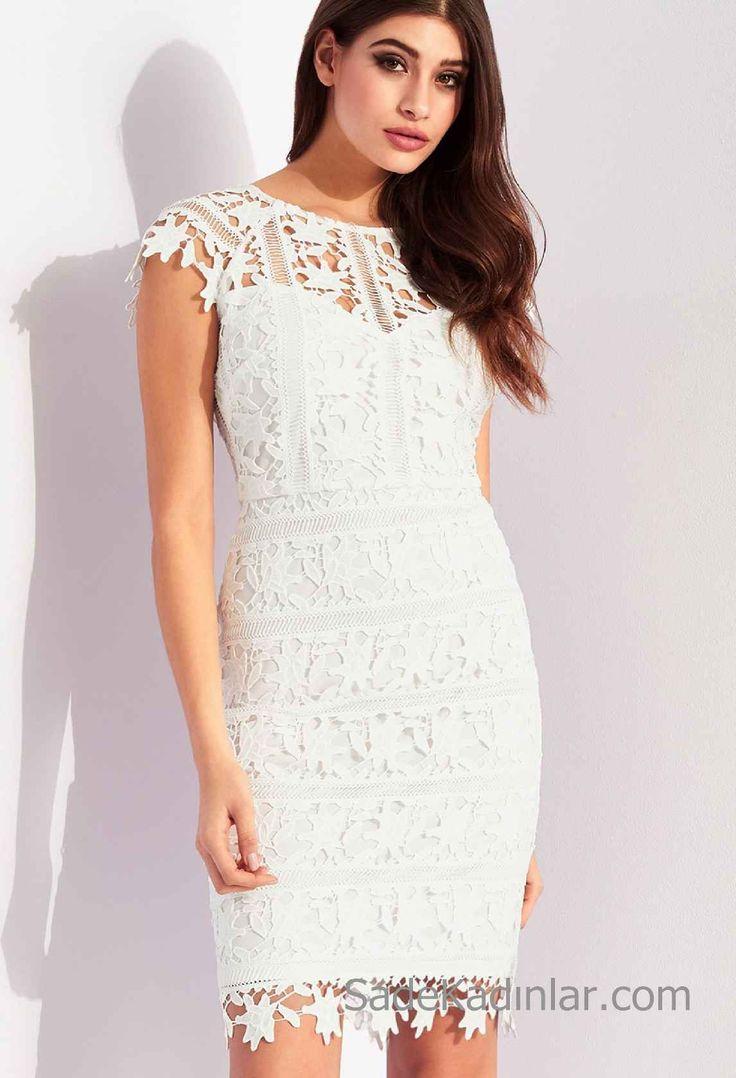 Beyaz Elbiseler Vücudu Saran Kısa Dantel Elbise