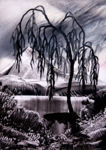 ORIGINAL-ACEO-encaustic-art-bees-wax-FANTASY-LANDSCAPE-painting-BLACK-WILLOW