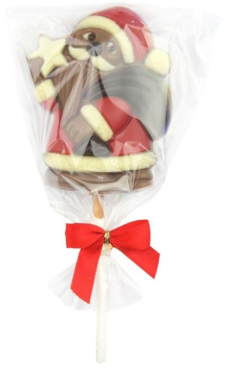 Chocolate Santa lolly by Chocolate Trading Co.  A Santa, chocolate lollipop made from high quality milk chocolate.   Perfect for a token Christmas gift or Christmas stocking filler. Presented in a small clear gift bag finished with festive red ribbon.  Measures 80mm long (not including stick).