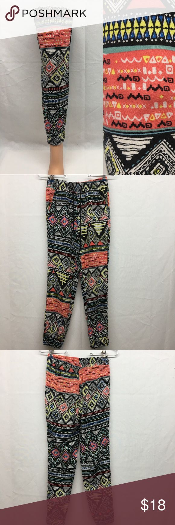 "New Look Aztec Print Pants New Look aztec print pants. Washed but never worn. No flaws. Size S. Elastic waistband with elastic cuffs at the bottom. Waist laying flat 12"". Rise 11"". Inseam 25"". New Look Pants"