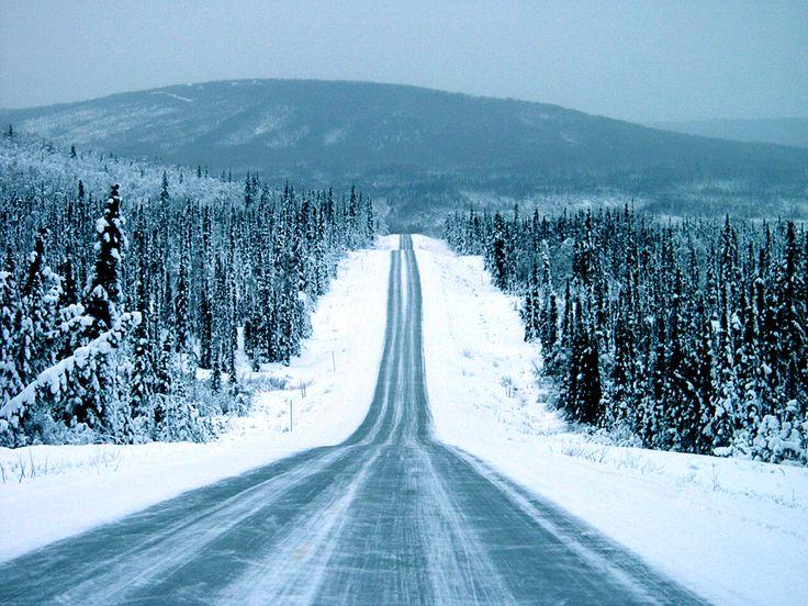 Icy winter road outside Fairbanks Alaska Photo by Mark W ...