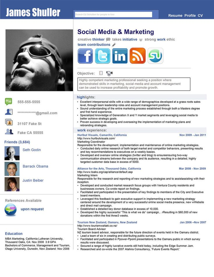 FacebookInspired Resume (by rkaponm) Clever Social