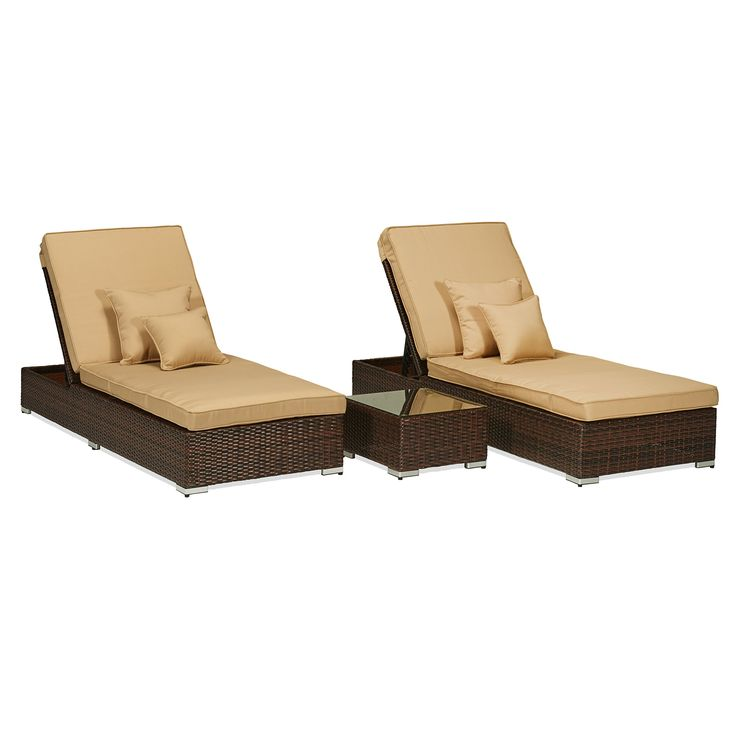 Carabelle 3 Piece Wicker Pool Side Lounge Set with Cushions, Dark Brown with Beige. Wicker color: dark brown cushion: Beige. Powder coated aluminum frame is durable and rust resistant. All weather Chair cushion covers repel water and moisture. 100% foam filled polyester cushion weather proof fabric. UV protection added to wicker to prevent fading.
