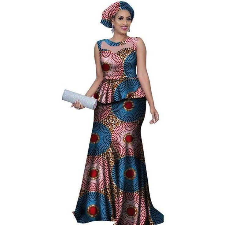 African Style Long Dress For Women Cotton Print Kitenge