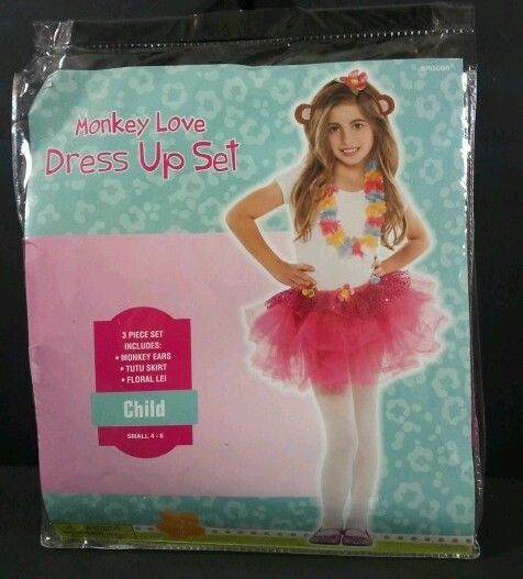 Sz Girls 4-6 MONKEY LOVE Girls TUTU Dress Up Set Costume 3 Pc NEW  B252 #Amscan #Tutu