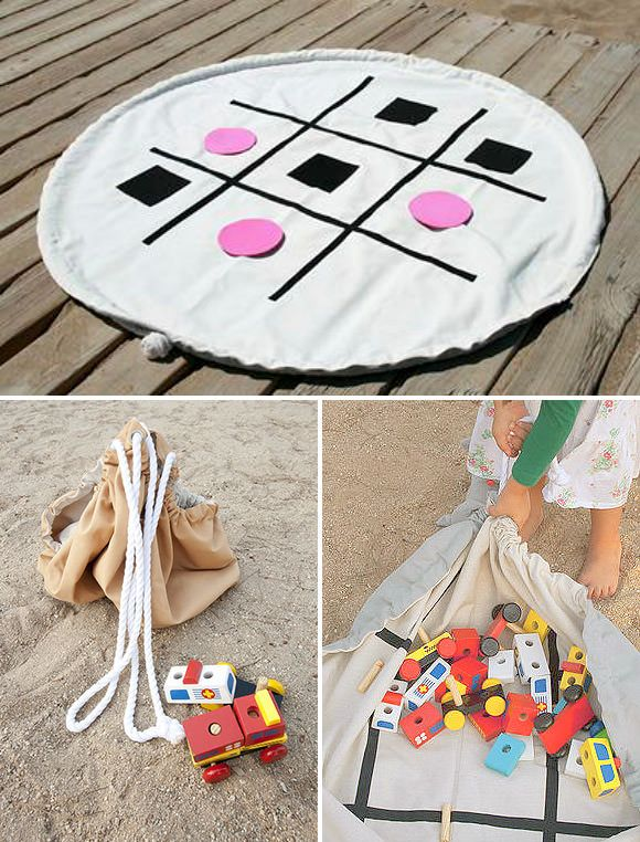 Clean up is a snap with this combination play mat / toy storage bag for kids! Maybe I need to ditch the rubbermaid containers for this--No more overflowing toyboxes. The grandchildren can just toss all the toys onto the mat and I can pull the cords and put the bag away.