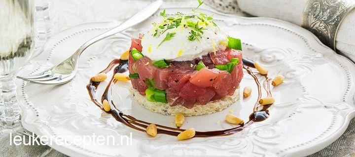 Tartaar van rauwe tonijn en door de ricotta, balsamico en pijnboompitten een vleugje Italiaans