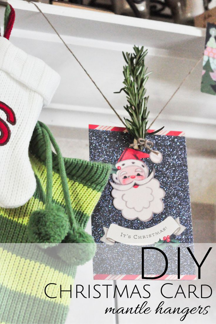 Make a super simple christmas card display and bring fresh rosemary into the mix! #SendHallmark [AD]
