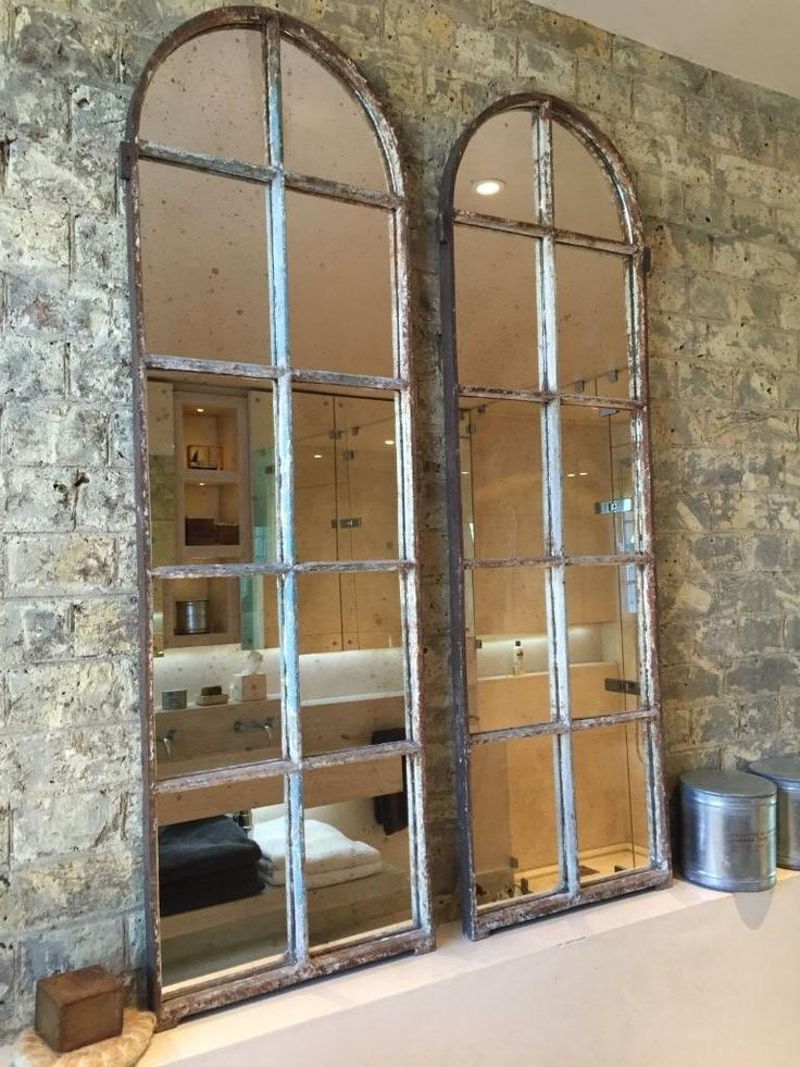 Arched Architectural Reclaimed Window Mirrors arched-window-mirrors [PairA/10] : Aldgate Home Ltd