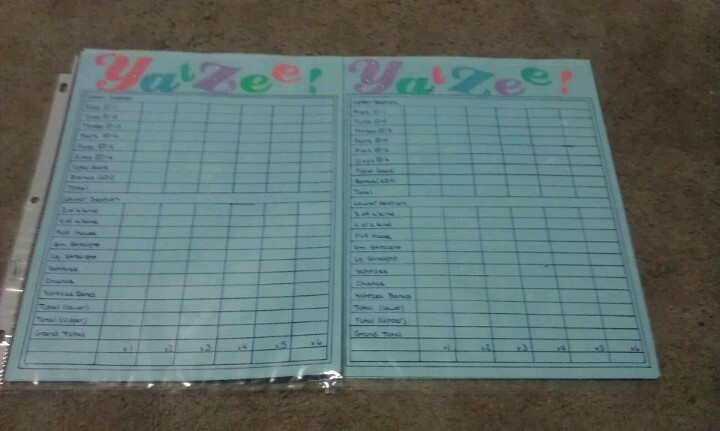 Reuseable yahtzee sheets