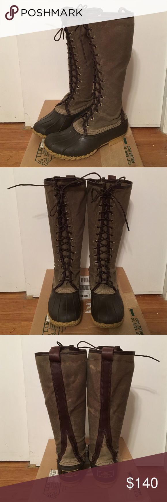 """Women's L.L. Bean Waxed Canvas Maine Hunting Boot Women's L.L. Bean 16"""" Waxed Canvas Maine Hunting Boot. Size 8M. Very good used condition. Color is Marsh Brown/Brown. Will come in original box it was shipped in. Lastly, NO TRADES! L.L. Bean Shoes Winter & Rain Boots"""