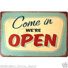 "A Vintage Style ""Were Open"" Metal Wall Art Plaque Sign Shop Barbers Decor Gift"