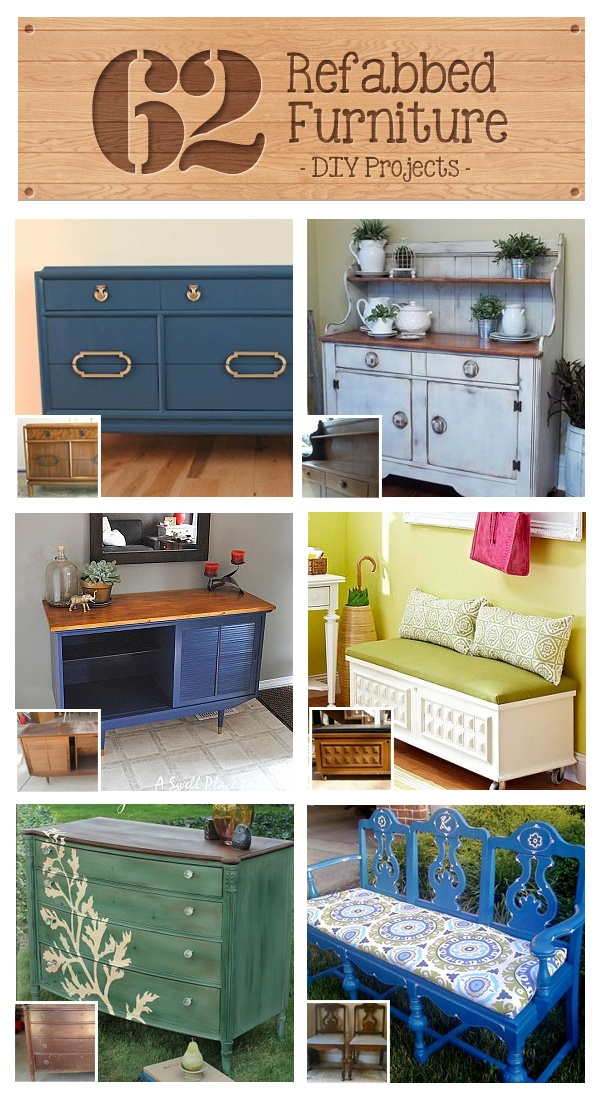 62 Refabbed Furniture Projects #DIY I love the long bench out of three chairs ;)