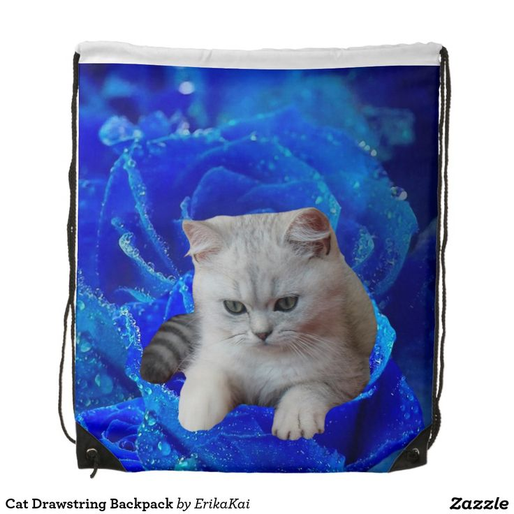 """Cat and Blue Rose Drawstring Backpack. 100% polyester. Dimensions: 14.75"""" x 17.3""""."""