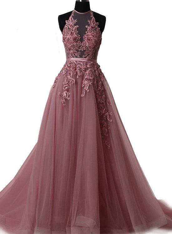 Elegant tulle lace long prom dress, lace evening dress