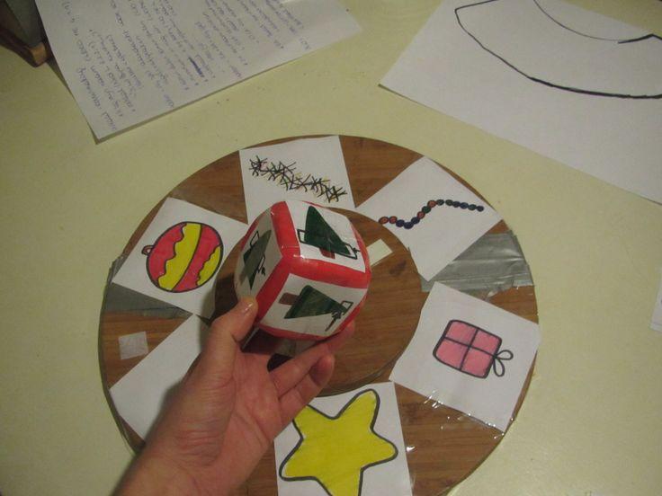 Wiskunde Meetkunde - Ruimte  > positie verkennen en bepalen --> WIS MK 3d. benoemen met de begrippen: HOOG, LAAG, MIDDEN   --------------(Activiteit Jongste Kleuters)  --------Benodigdheden:   (1) Materialen die op het rad staan afgebeeld  (2) Kerstboom -------------Verloop:   De kinderen draaien aan het rad om te bepalen welk voorwerp ze mogen nemen. Daarna gooien ze met de dobbelsteen om te bepalen waar het voorwerp moet hangen in de boom.(vooraf klassikaal begrippen aanbrengen)