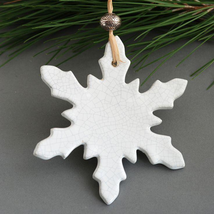 Décoration de Noël en céramique - deco de noel flocon Céramique Blanc craquelé : Accessoires de maison par les-bijoux-de-lilibulle
