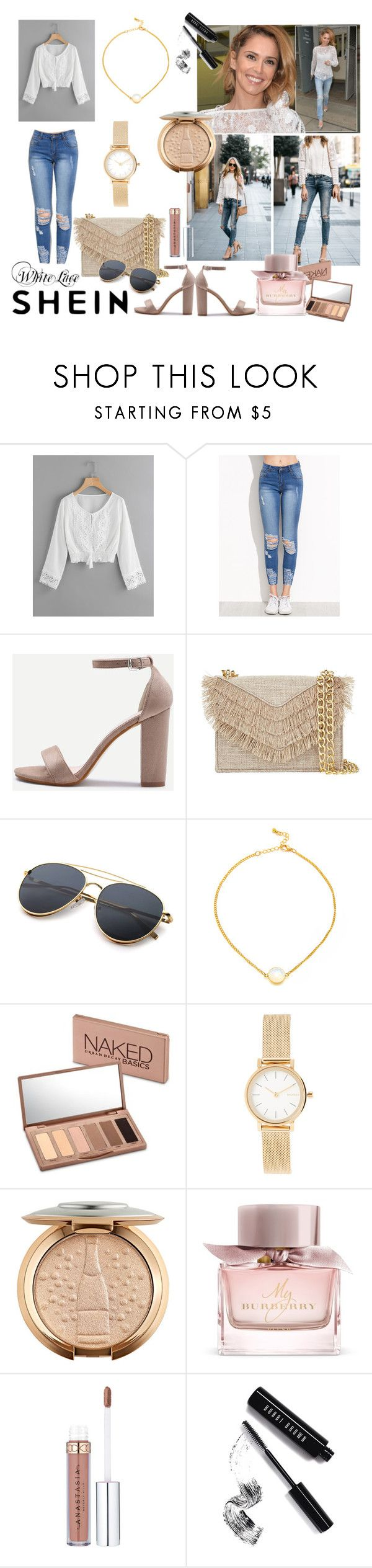 White lace by paisleyvelvetandlace on Polyvore featuring Cynthia Rowley, Skagen, Urban Decay, Bobbi Brown Cosmetics and Burberry