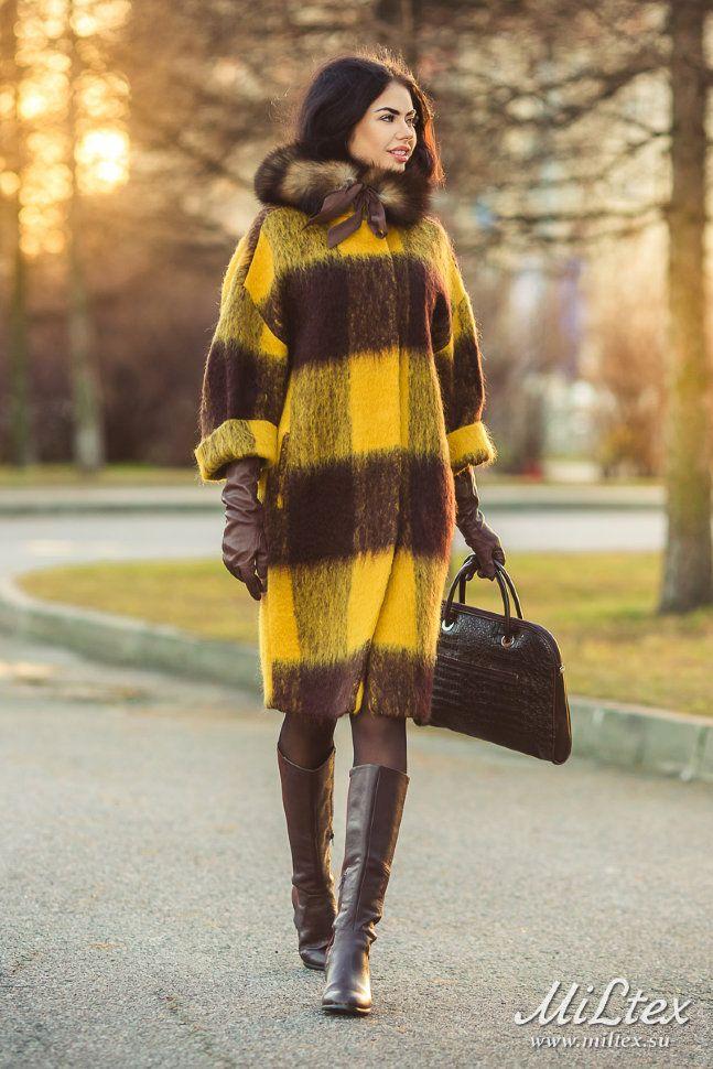 Пальто в стиле оверсайз, желтая клетка. Арт. 418