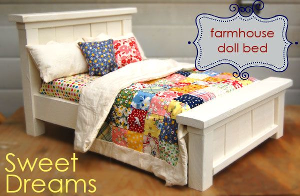 **Adorable farmhouse doll bed (American Girl size) DIY Ana White - simple plans, easy to make, inexpensive. I made 2 for around $22, so $11 each!