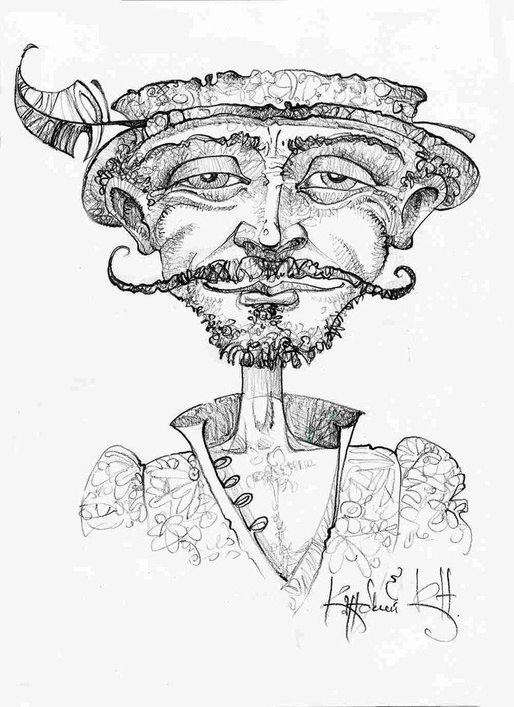 Кавалер.  Cavalier. graphics, design paper, pencil