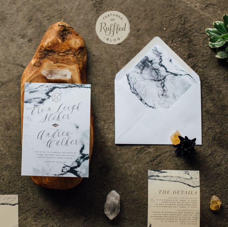 ERIN SUITE // Marble Wedding Invitation, Watercolor Neutral Design, Modern…
