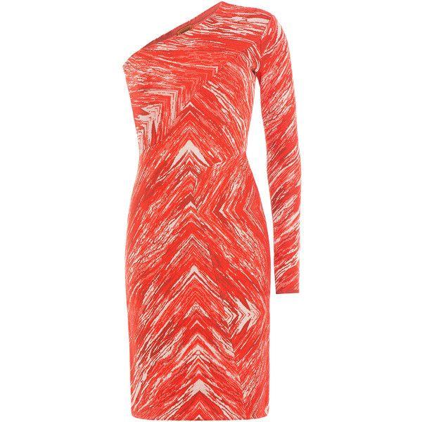 Missoni Zigzag Print Wool One-Shoulder Dress ($535) ❤ liked on Polyvore featuring dresses, missoni, multicolor, none, evening dresses, cocktail dresses, evening cocktail dresses, red dress and 1980s cocktail dress