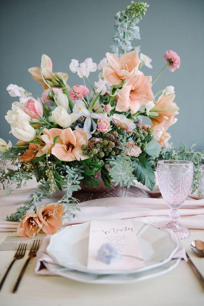 Peach and Purple Spring Wedding Flowers