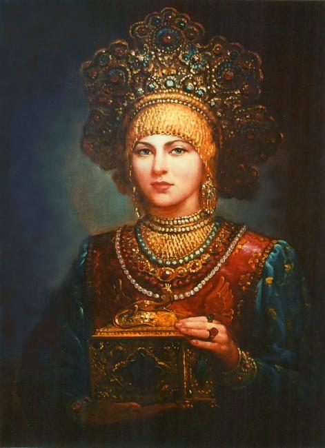 """Russian costume in painting. """"Russian Beauty in a Kokoshnik Headdress"""" by Andrey Shishkin, 2003. #art"""