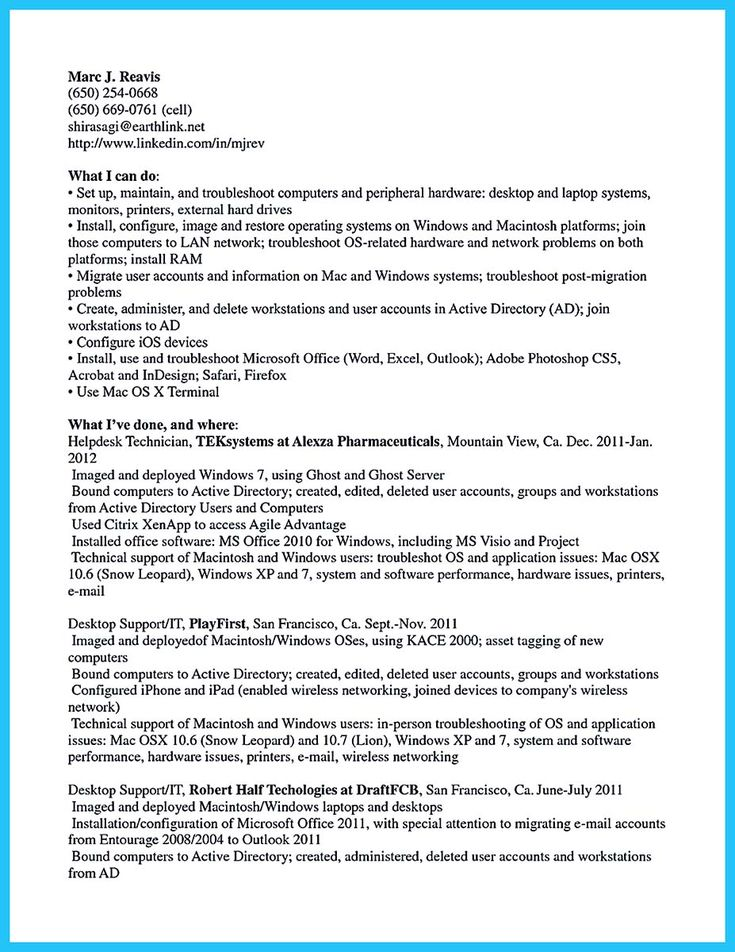 cool One of Recommended Banking Resume Examples to Learn, Check - desktop support resume examples
