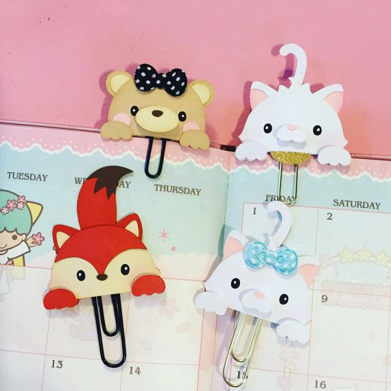 Cute peek-a-boo Planner paper clips by MissKittysKreation  #plannerpaperclip