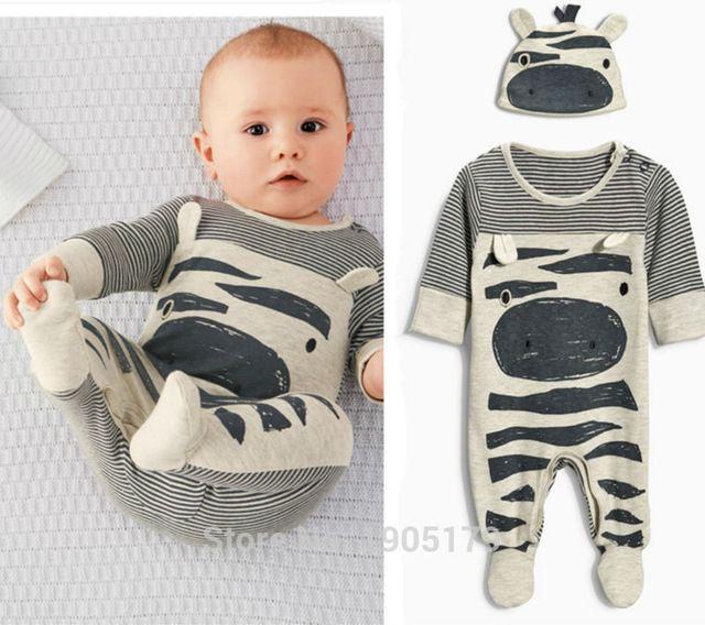 2016 di vendita Caldo vestiti del bambino neonato del pagliaccetto del fumetto cotone a maniche lunghe tute + Hat newborn baby boy vestiti