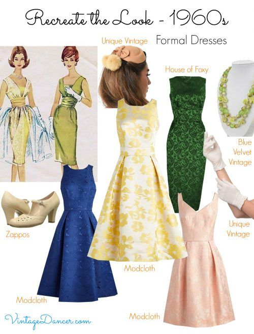 Look out for rich luxurious fabrics with an A-line silhouette for an early 1960s style. Shop VintageDancer.com/1960s