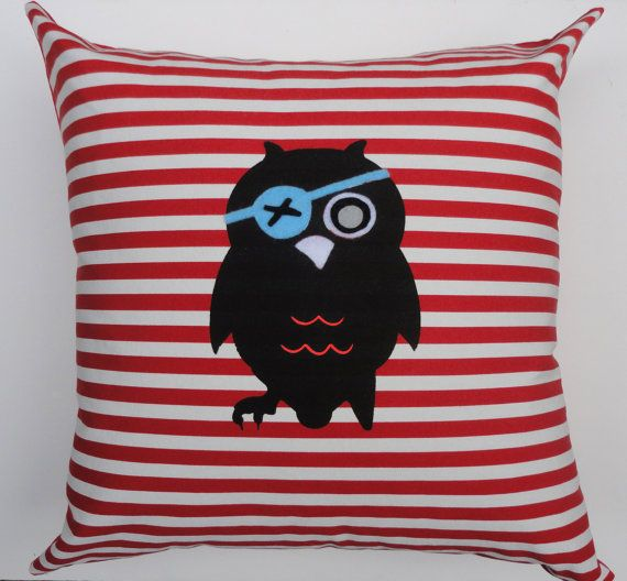 Kids cushion cover Pirate owl red kids room by pineapplepetekids, $38.00