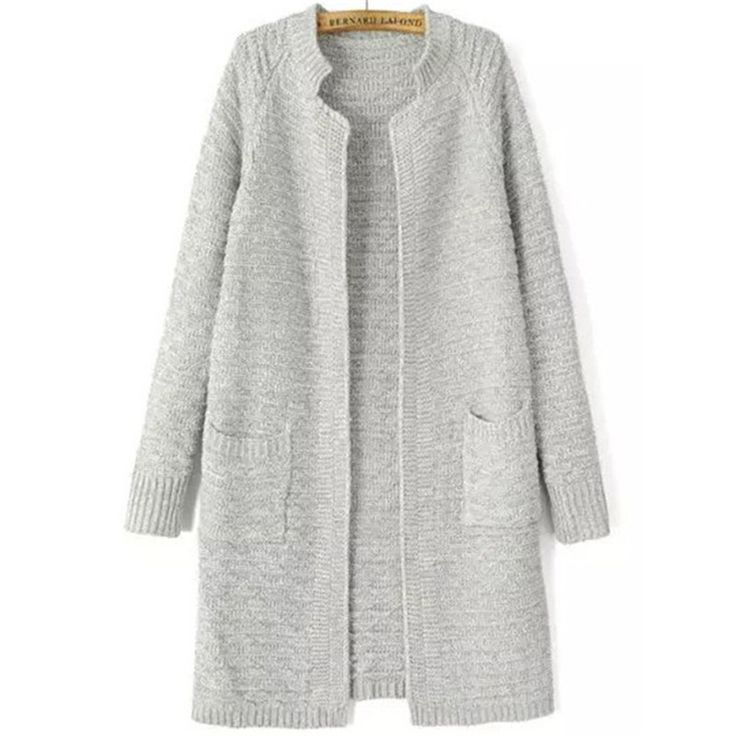 Knitting Outwears Fashion Plain Stand Collar Pockets Knit Cardigan