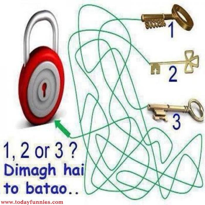 This Is Very Interesting Picture Of A Mind Puzzle. In This Amazing Picture A Puzzle Is Given To Find The Right Key Of This Lock. Here A Lock Is Given With Three Different Keys And Three Lines Are Draw From Keys to Lock…Your Task Is To Find The Right Key For This Lock Which Is Exactly Reach To It.