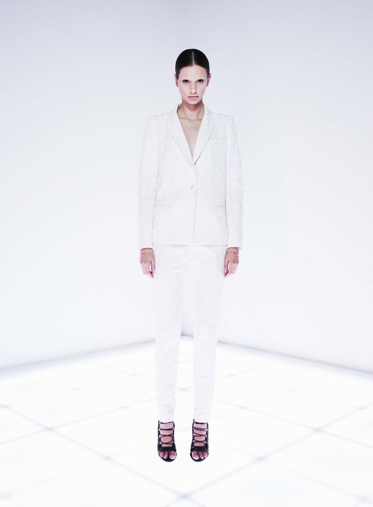 Decimal Blazer and Namespace Trouser by CAMILLA AND MARC http://www.camillaandmarc.com/namespace-trouser-white-w-ivory.html