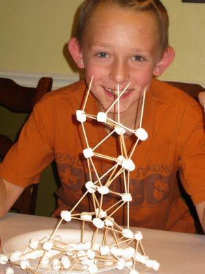 """toothpick and mini marshmellow tower game. For his """"family"""" party I like to do something that even adults will sit down and do for fun. I can see this getting competative ha-ha"""