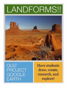 Are you studying landforms with your students?  These activities are a great supplement to your introduction of landforms.  Included in this file:* Landform Quizzes in which students must draw/sketch the landforms (one with specific landforms that you can edit, one with blanks for the students to choose)* Landform slideshow project handout (PowerPoint, Keynote, Google Slides)* Landform slideshow with 2 examples to show to the students* Rubric for the slideshow project* World Landforms Table…