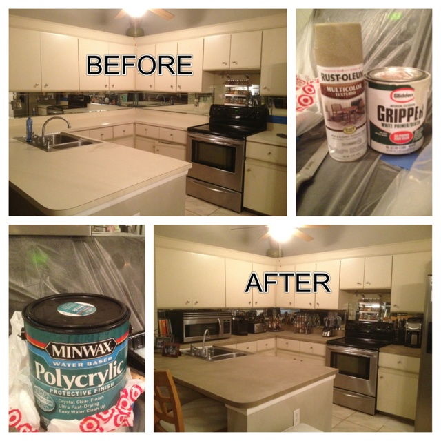 Refinishing laminate Countertops:  1. Clean countertops with a degreaser, Krud Kutter 2. Lightly sand countertops 3. 2 coats of Glidden Gripper Primer with roller 4. color/finish, 3 coats 5. 3 coats of Polycrylic by Minwax
