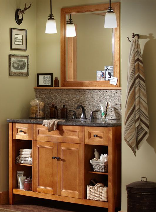 Warmer wood tones like the rich cinnamon of this Foremost vanity give your bathroom a natural look.