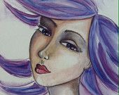 Mixed Media Whimsical Portrait by artist Karen Campbell.  Prints for sale on etsy, SHIPS FREE!