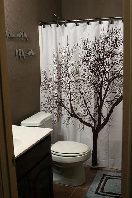 Picture Gallery Website brown bathroom and tree curtain