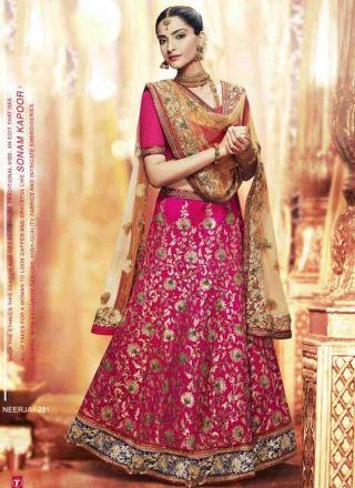 Sonam Kapoor Rani Pink Embroidery Work Silk Net Bollywood Bridal Lehenga Choli