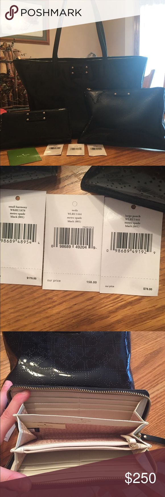 """Kate spade 3 piece set Super cute """"metro spade"""" black patent leather purse, wallet, and large pouch.. the set cost over $415... the wallet and purse have been used but they are in great condition with no rips or stains. The pouch has never been used, just took the tags off it Bags Shoulder Bags"""
